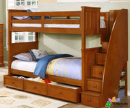 Allen House Brandon Full over Full Bunk Bed with Stairs Pecan | Allen House | AH-J-FF-02-STR-T-J