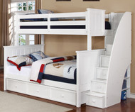 Allen House Brandon Twin over Full Bunk Bed with Stairs White | Allen House | AH-J-TF-01-STR-T-J