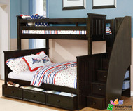Allen House Brandon Twin over Full Bunk Bed with Stairs Graphite Grey | Allen House | AH-J-TF-09-STR-T-J
