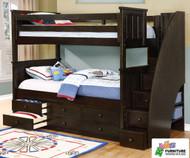 Allen House Brandon Bunk Bed with Stairs Graphite Grey | Allen House | AH-J-TT-09-STR-T-J