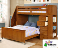 Allen House Twin over Full Storage Loft Bed with Stairs Pecan | Allen House | AH-MULTI-TF-02