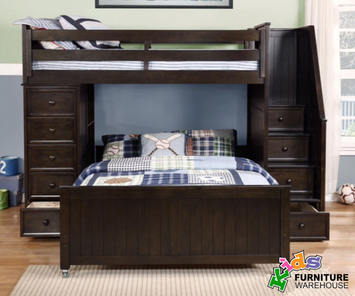 Allen House Twin Over Full Storage Loft Bed With Stairs Graphite | Allen  House | AH
