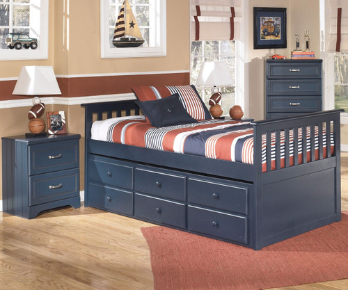 leo b103 twin size captain's trundle bed | ashley kids furniture