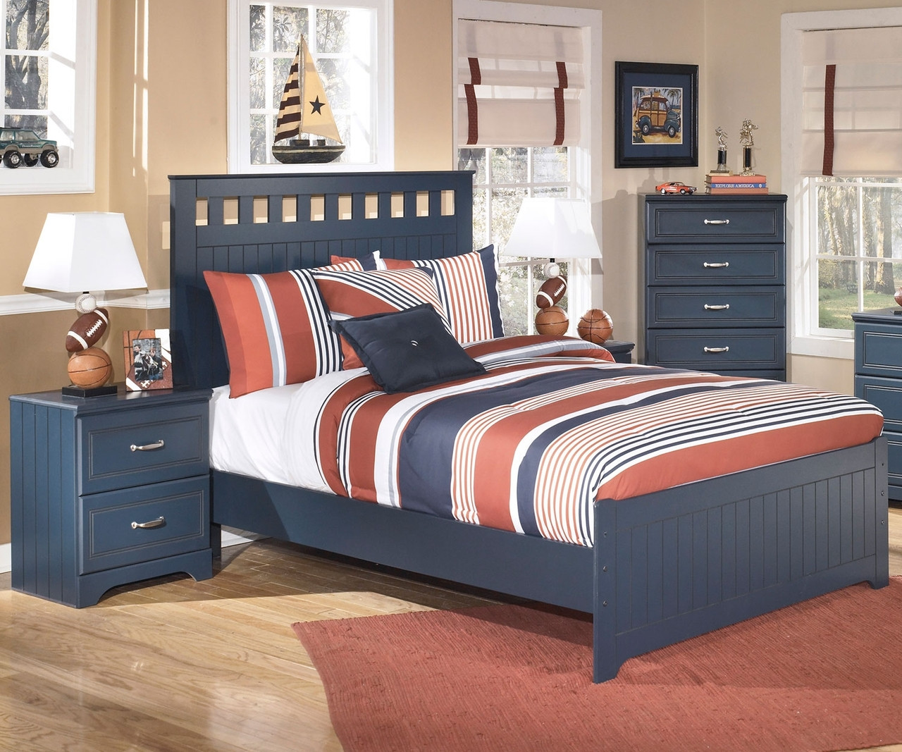 Leo b103 full size panel bed ashley kids furniture for Boys full size bed
