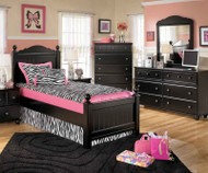 Jaidyn Black Twin Poster Bed | Ashley Furniture | ASB150-54NX