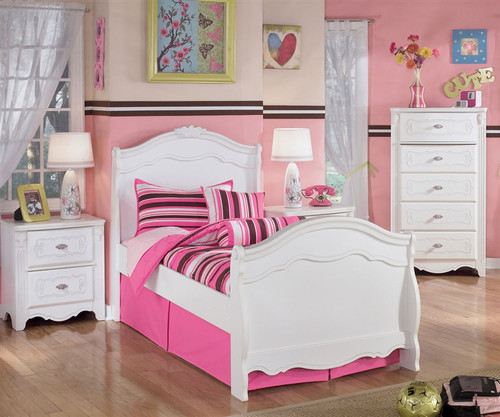 Ashley Furniture Exquisite Twin Sleigh Bed Kids Exquisite Twin Sleigh Bed In White Finish