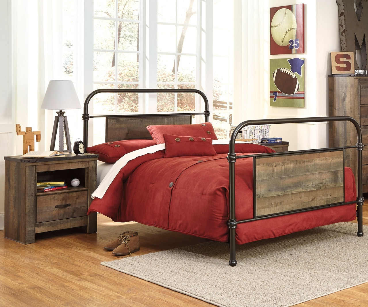 Trinell b446 twin size metal bed ashley kids furniture for Twin size beds for boys