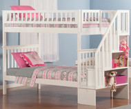 CLEARANCE Woodland Stair Bunk Bed White | Atlantic Furniture | ATL-AB56602-SD