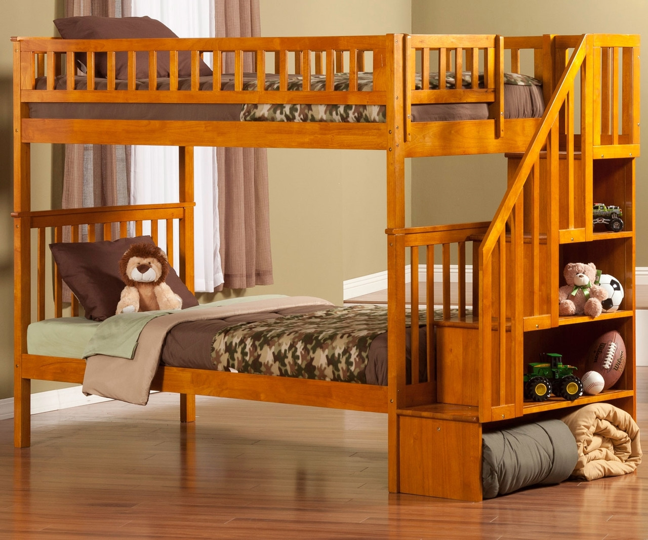 woodland twin over twin stair bunk bed ab56607 atlantic furniture solid wood bedroom. Black Bedroom Furniture Sets. Home Design Ideas