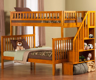 Woodland Stair Bunk Bed Twin over Full Caramel Latte | Atlantic Furniture | ATL-AB56707