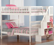 Woodland Stair Bunk Bed Full over Full White | Atlantic Furniture | ATL-AB56802