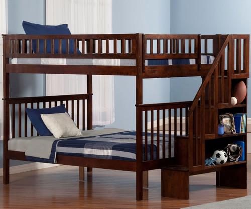 woodland stair bunk bed full over full antique walnut atlantic furniture atlab56804