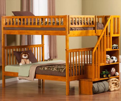 Woodland Stair Bunk Bed Full over Full Caramel Latte | Atlantic Furniture | ATL-AB56807