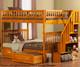 Woodland Stair Bunk Bed Full over Full Caramel Latte | 24073 | ATL-AB56807