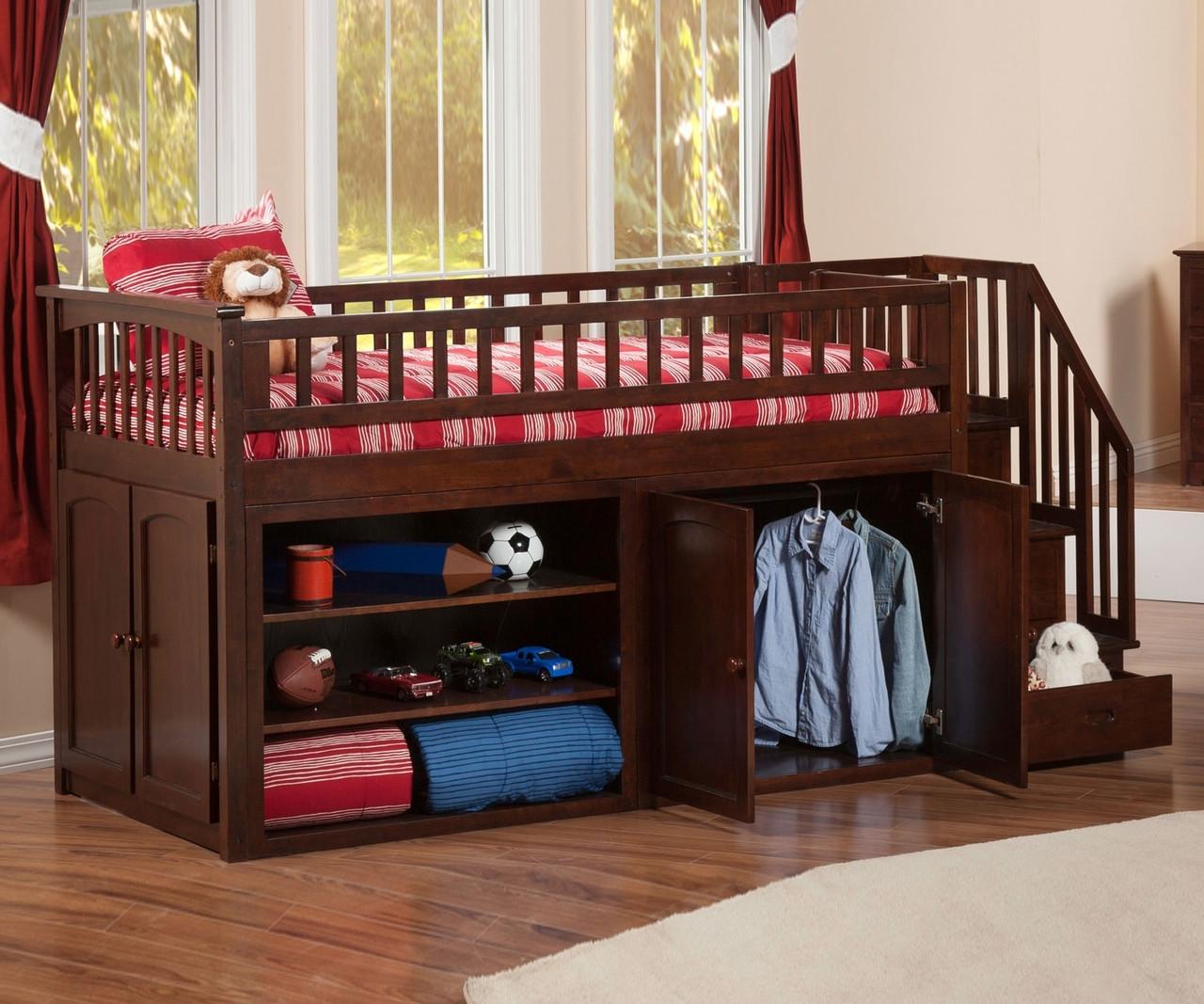 mini stair loft bunk bed atlantic furniture solid wood bedroom furniture in antique walnut. Black Bedroom Furniture Sets. Home Design Ideas