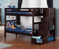 Cascade Staircase Bunk Bed Espresso | Atlantic Furniture | ATL-AB63601