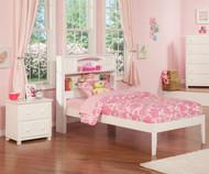 Urban Lifestyle Newport Bookcase Platform Bed Twin Size White | Atlantic Furniture | ATL-AR8521002