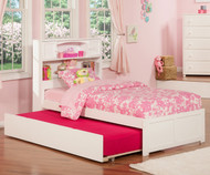 Urban Lifestyle Newport Bookcase Platform Bed with Trundle Twin Size White | Atlantic Furniture | ATL-AR8522012