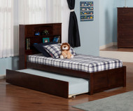 Urban Lifestyle Newport Bookcase Platform Bed with Trundle Twin Size Antique Walnut | Atlantic Furniture | ATL-AR8522014