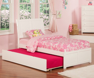 Urban Lifestyle Portland Platform Bed with Trundle Twin Size White   Atlantic Furniture   ATL-AR8922012