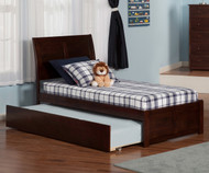 Urban Lifestyle Portland Platform Bed with Trundle Twin Size Antique Walnut   Atlantic Furniture   ATL-AR8922014