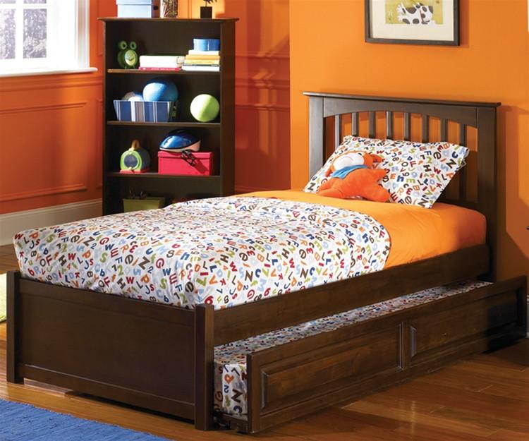 Brooklyn Full Size Trundle Bed Antique Walnut | Atlantic Furniture |  ATLBRK-TRF-AW - Atlantic Furniture Brooklyn Model Full Size Trundle Beds Kids