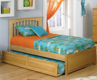 Brooklyn Twin Size Trundle Bed Natural Maple | Atlantic Furniture | ATLBRK-TRT-NM