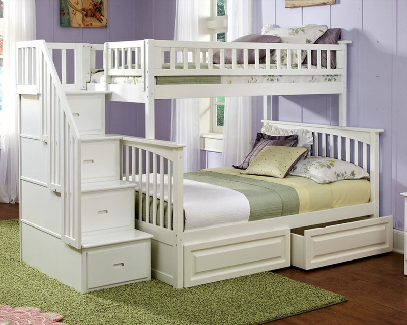 Atlantic Furniture Columbia Model Twin Full White Staircase Bunk Bed