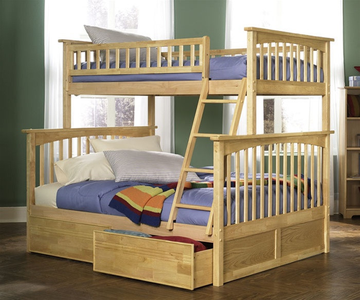 Atlantic Furniture Columbia Model Twin Full Bunk Bed Naturalmaple