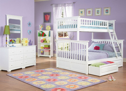 Columbia Twin Over Full Bunk Bed White | Atlantic Furniture | ATLCOL TF WH