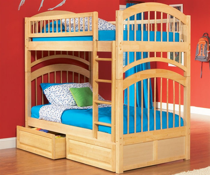 Atlantic Furniture Windsor Model Twin Bunk Bed Caramel Latte Kids