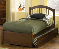 Windsor Twin Size Trundle Bed Antique Walnut | Atlantic Furniture | ATLWIN-TRT-AW