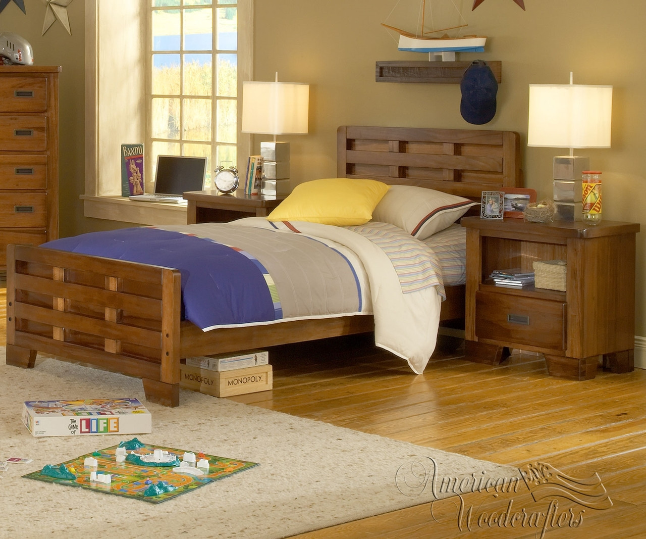 Heartland Twin Size Panel Bed 1800 33cpb American Woodcrafters