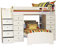 Twin over Twin Space Saver with Two Chests and Stairs | Berg Furniture | BG22-807