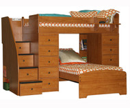 Twin over Twin Space Saver with Two Chests and Stairs 2 | Berg Furniture | BG22-807-XX
