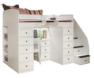 Sierra Space Saver Loft Bed with Two Chests, Desk and Stairs | Berg Furniture | BG22-808
