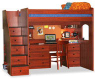 Utica Dorm Loft Bed with Workstation | Berg Furniture | BG23-835-83AB