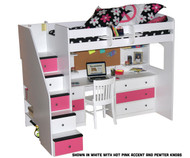 Utica Dorm Loft Bed with Workstation 1 | Berg Furniture | BG23-835-83AB2