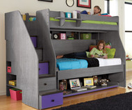 Transforming Bed XL Twin over Twin Loft with Stairs   Berg Furniture   BG78-12-XX