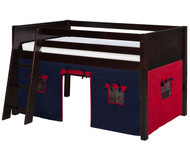 Camaflexi Low Loft Bed with Blue Tent Twin Size Cappuccino | Camaflexi Furniture | CF-E422T