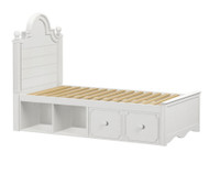 Craft ADELAIDE Panel Bed with Drawer and Cubbies Twin Size White | Craft Furniture | CK-ADELAIDE2