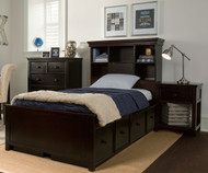 Craft BOSTON Bookcase Bed with Drawers Twin Size Espresso | Craft Furniture | CK-BOSTON1