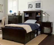 Craft BOSTON Bookcase Bed with Drawer and Cubbies Twin Size Espresso | Craft Furniture | CK-BOSTON2