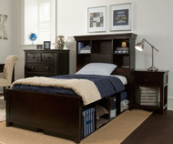 Craft BOSTON Bookcase Bed with Cubbies Twin Size Espresso | Craft Furniture | CK-BOSTON3