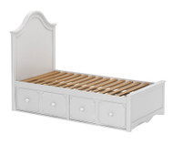 Craft CHARLESTON Panel Bed with Drawers Twin Size White | Craft Furniture | CK-CHARLESTON1