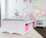 Craft CHARLESTON Panel Bed with Cubbies Twin Size White | Craft Furniture | CK-CHARLESTON3