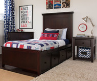Craft LONDON Panel Bed with Drawers Twin Size Espresso | Craft Furniture | CK-LONDON1