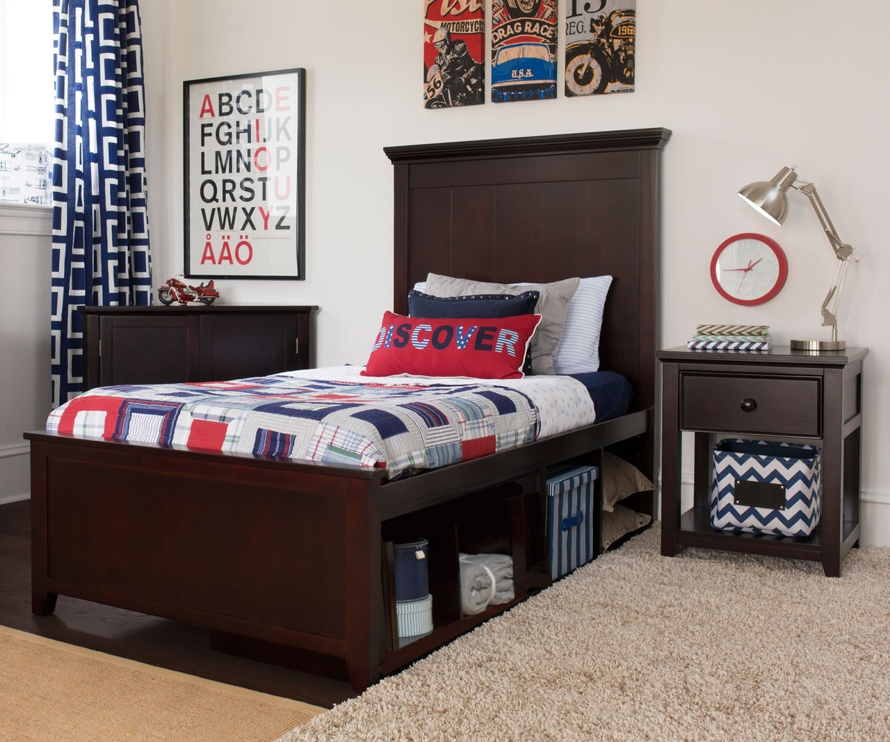 Craft furniture london twin size panel bed with cubbies in espresso finish craft kids Badcock home furniture more pompano beach fl