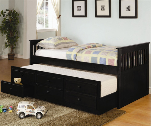 coaster black trundle captains bed for kids with storage 11937 | cs300104 2 78633 1485380681 500 750 c 2