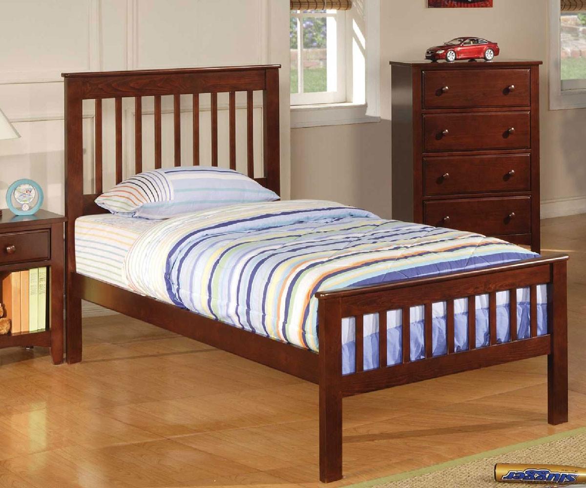 Poundex furniture f9207 cherry kids twin bed kid bedroom furniture poundex furniture brand twin Badcock home furniture more pompano beach fl